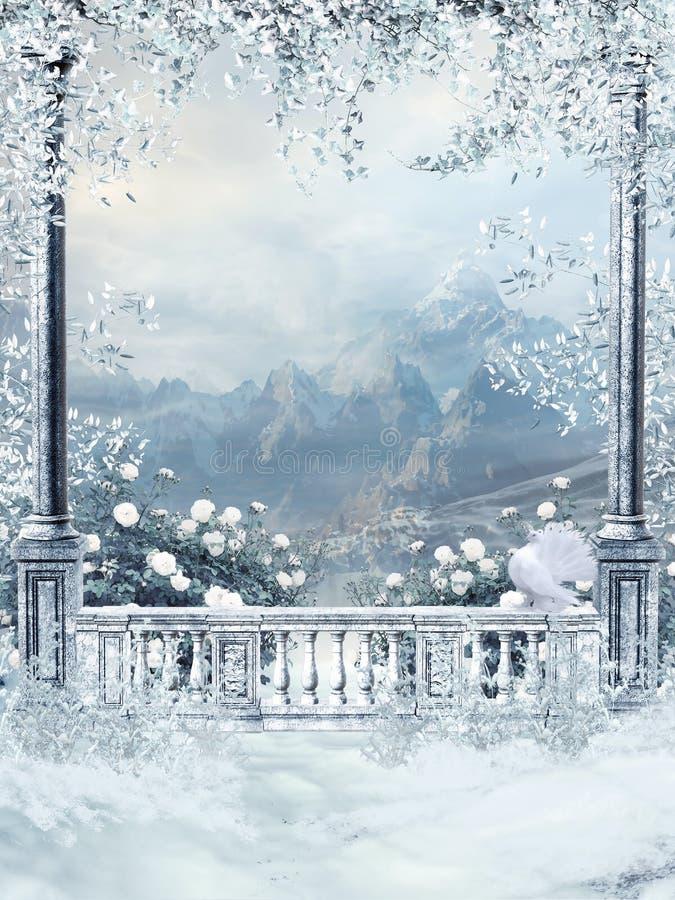 Het balkon van de winter met wijnstokken royalty-vrije illustratie