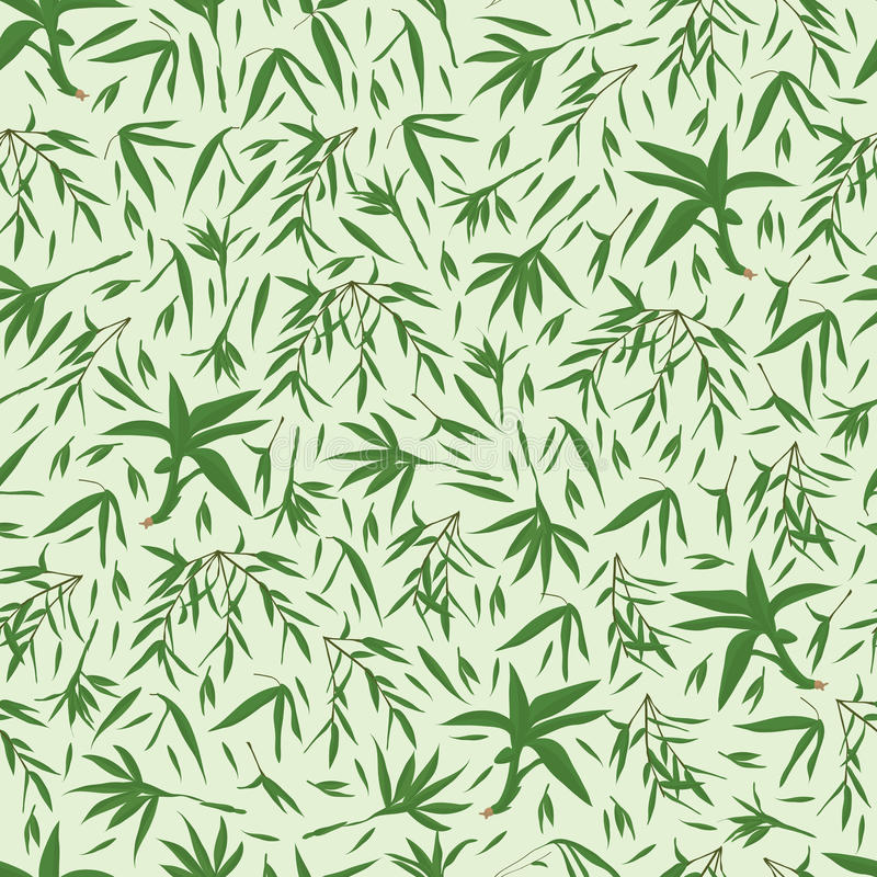 Het bamboe verlaat groen naadloos patroon vector illustratie