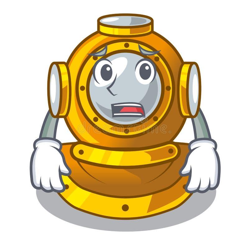 Het bange karakter van de vorm duikende helm in kast royalty-vrije illustratie