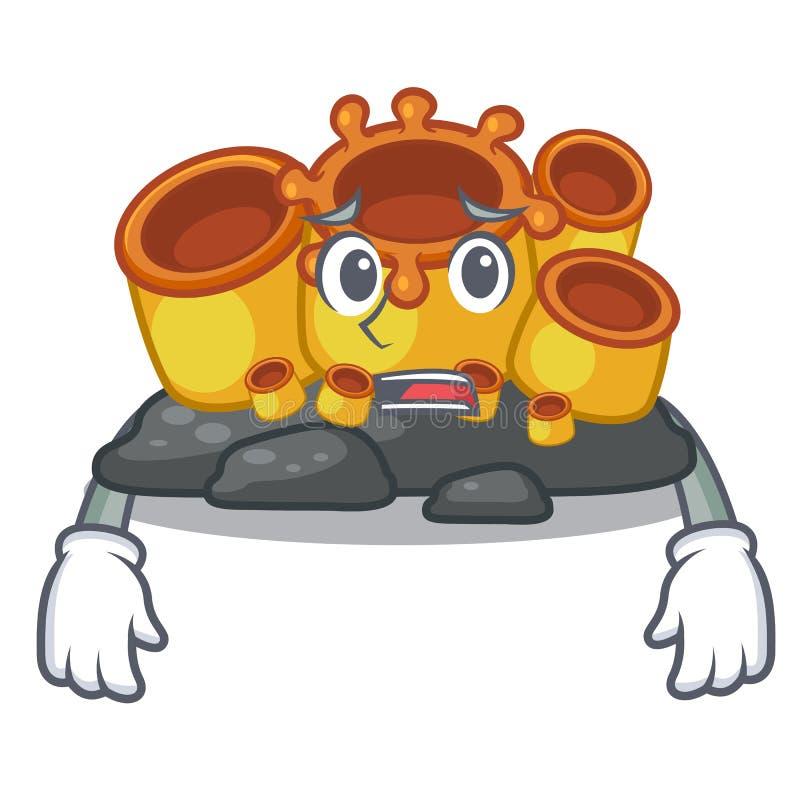 Het bange oranje beeldverhaal van het sponskoraal in overzees stock illustratie