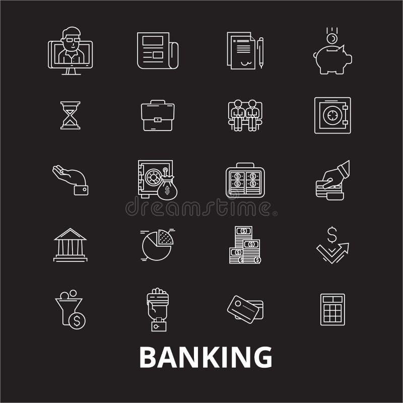 Het bank de editable die vector van lijnpictogrammen op zwarte achtergrond wordt geplaatst Beleggende witte overzichtsillustratie royalty-vrije illustratie