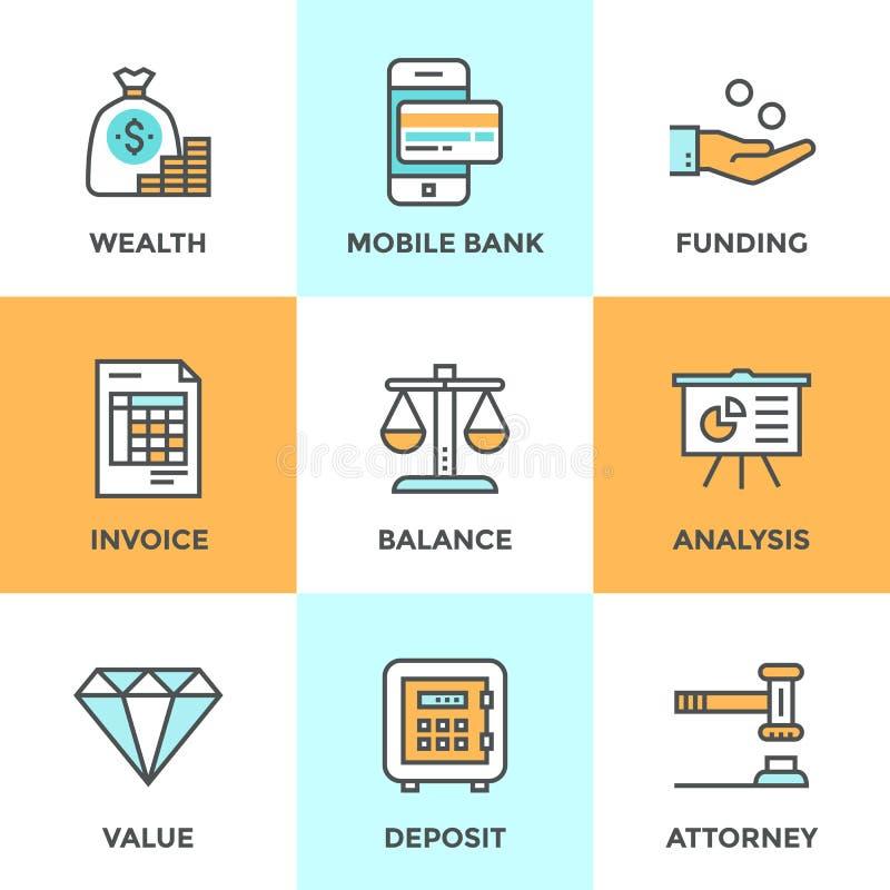 Het bank en financierings geplaatste lijnpictogrammen royalty-vrije illustratie