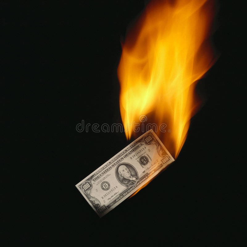 Het bankbiljet van Burninging stock afbeeldingen