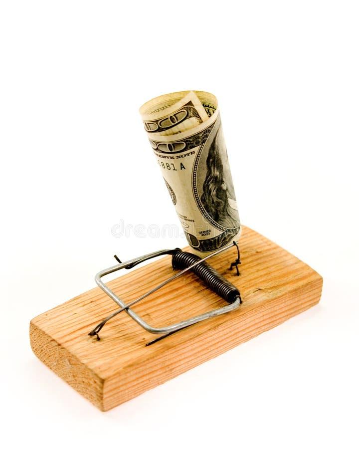 Het bankbiljet van de dollar in een muizeval stock foto