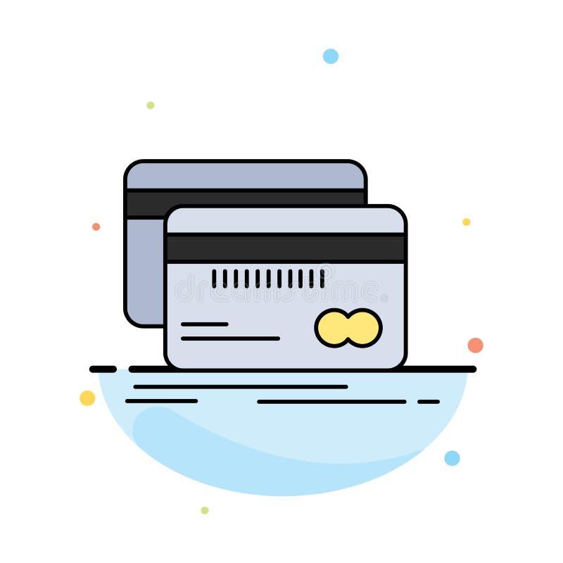 Het bankwezen, kaart, krediet, debet, financiert de Vlakke Vector van het Kleurenpictogram vector illustratie