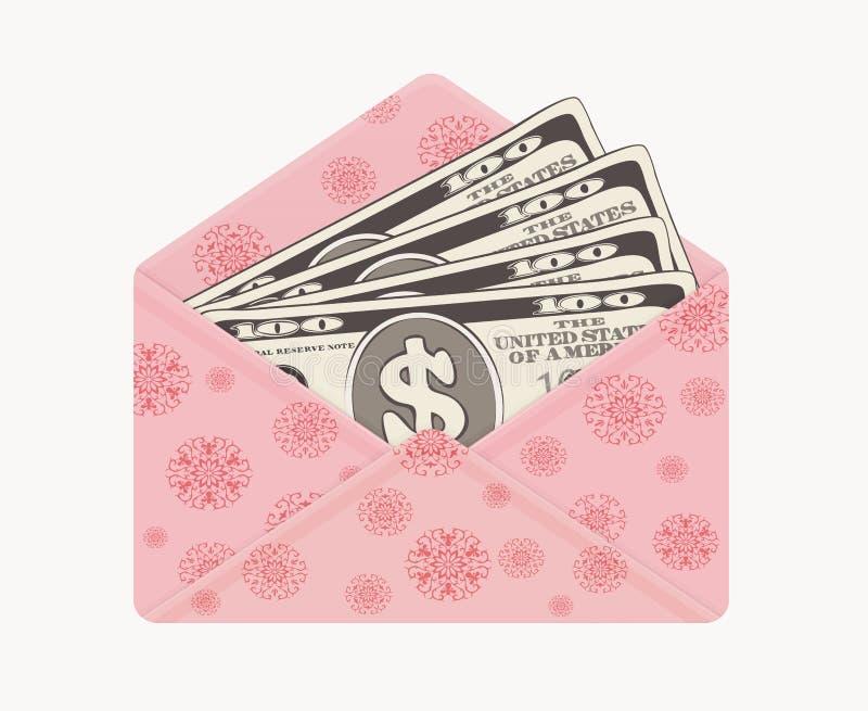 Het bankwezenmunt van de V.S. in open feestelijke envelop, honderd dollarsrekeningen als gift in roze postenvelop royalty-vrije illustratie