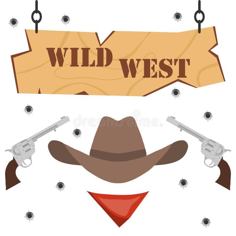 Het banner wilde westen met revolvers en een cowboyhoed royalty-vrije illustratie