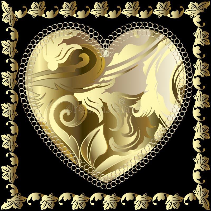 Het barokke 3d vectorpatroon van het liefdehart Sier gouden Damastachtergrond Het decoratieve gevormde bloemenhart van de kantlie vector illustratie