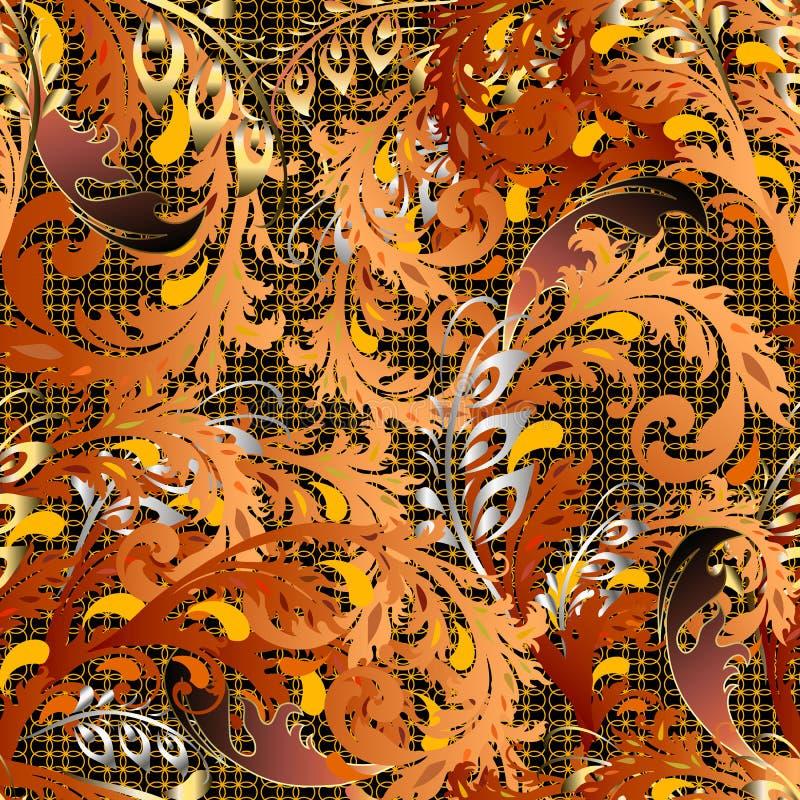 Het barokke kleurrijke vector naadloze patroon van de herfstbladeren Heldere kant sier bladachtergrond Uitstekend herhaal gevormd stock illustratie