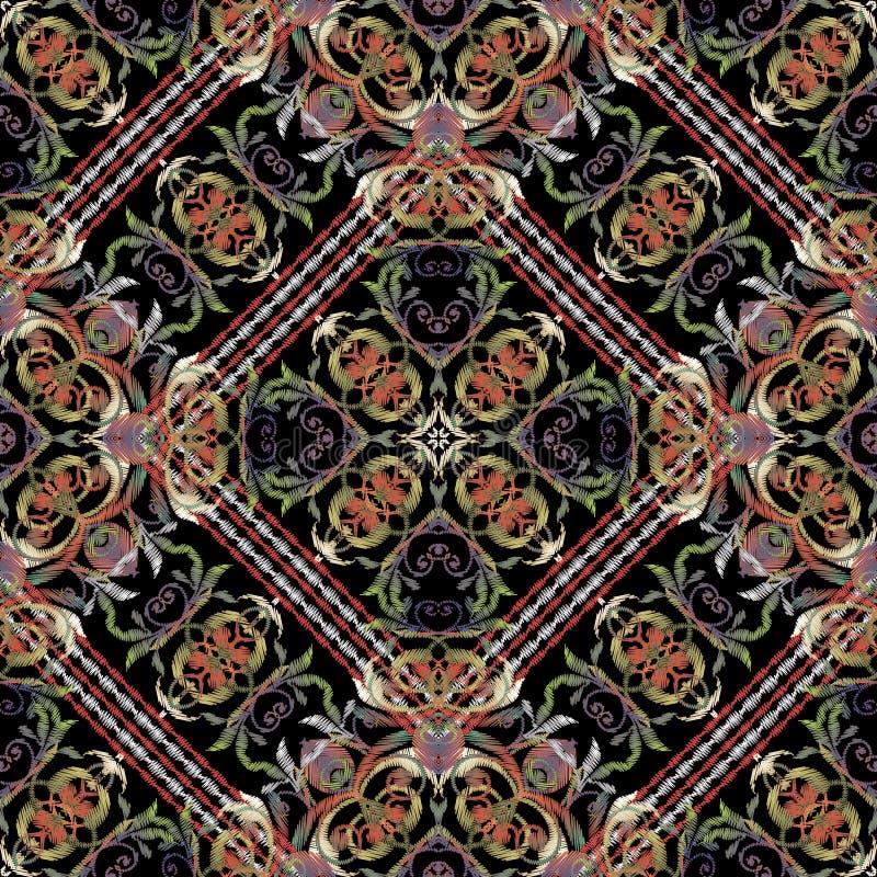 Het barokke naadloze patroon van het Damast bloemenborduurwerk Vector gestreepte grungeachtergrond Wijnoogst geborduurd behang kl stock illustratie