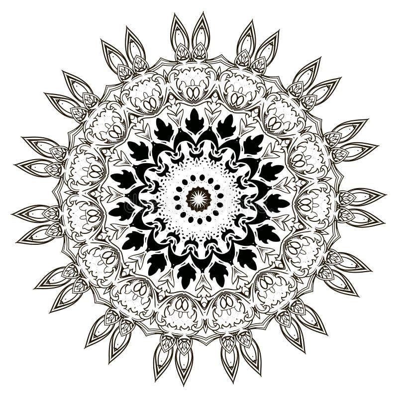 Het barokke zwart-witte bloemen ronde patroon van kantmandala Vector sier etnische stijl kanten achtergrond Uitstekende bloemen,  vector illustratie