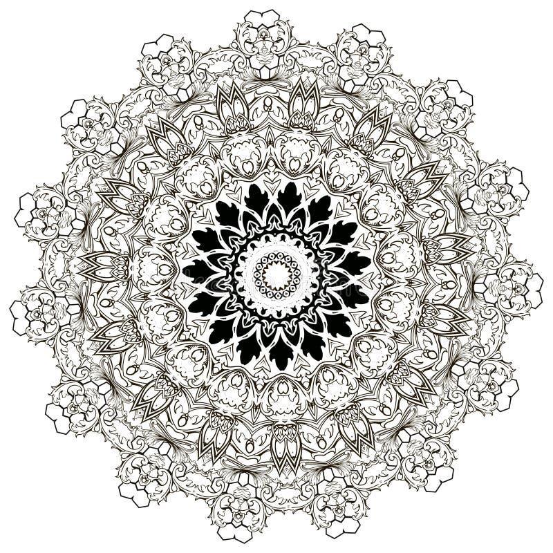 Het barokke zwart-witte bloemen ronde patroon van kantmandala Vector sier barokke victorian stijl kanten achtergrond wijnoogst stock illustratie