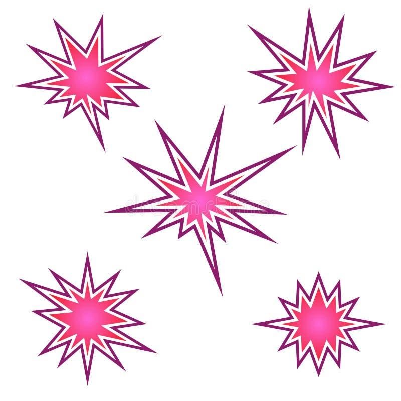 Het barsten pictogramreeks, barstende ster, vector stock illustratie