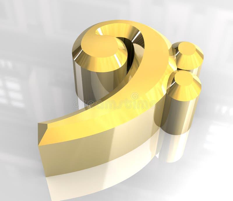 Het bas zeer belangrijke symbool van de muziek in goud vector illustratie