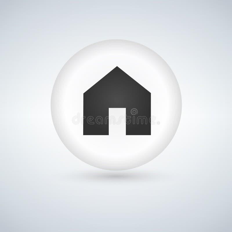Het basispictogram van het Webhuis, witte glanzende cirkelknoop royalty-vrije illustratie