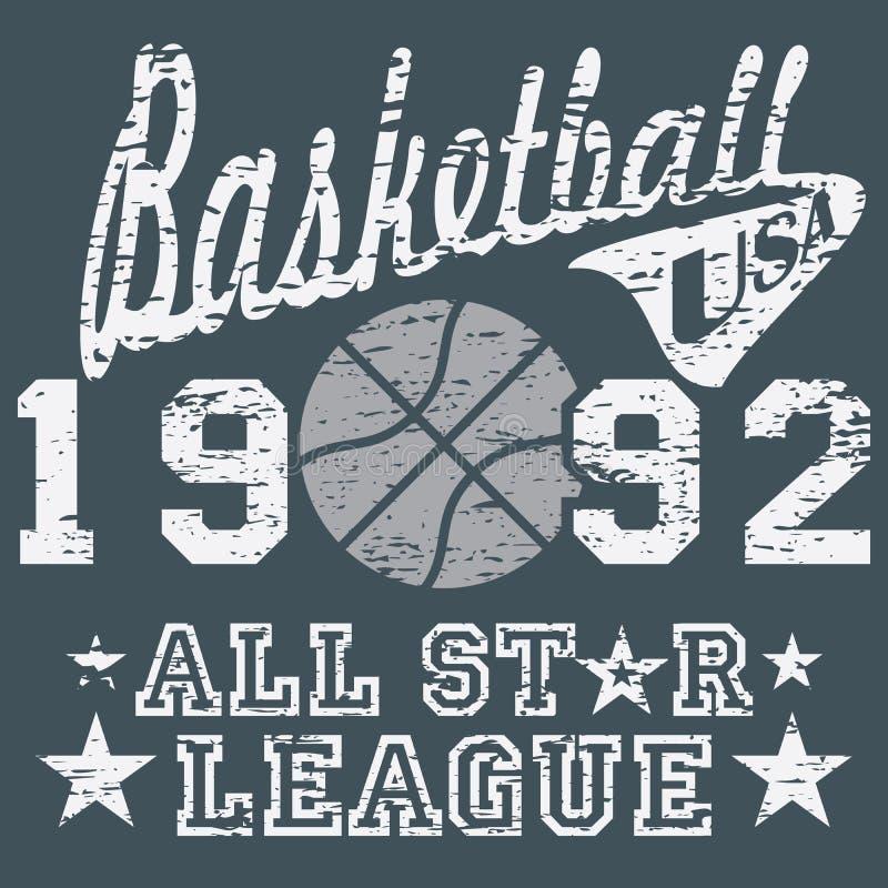 Het basketbal allen speelt ligakunstwerk, typografieaffiche, het ontwerp van de t-shirtdruk, het vectoretiket van Kentekenappliqu royalty-vrije illustratie
