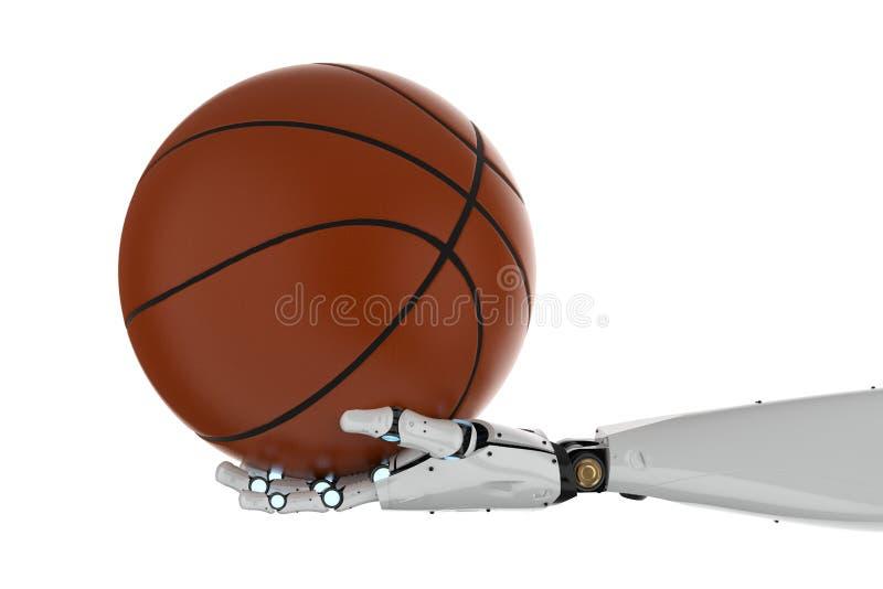Het basketbal van de robotholding royalty-vrije illustratie