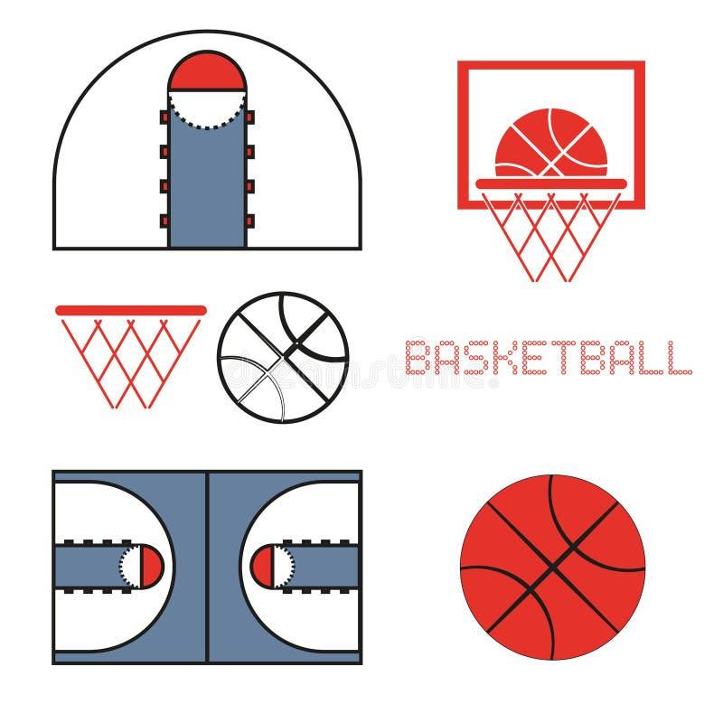 Het basketbalspel heeft Pictogrammen bezwaar vector illustratie