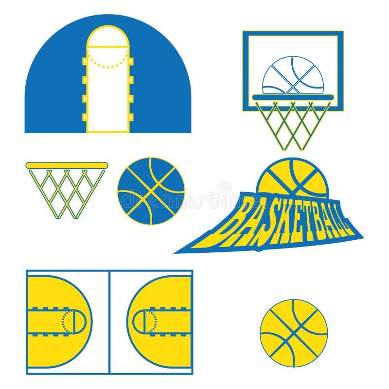 Het basketbalspel heeft Pictogrammen bezwaar stock illustratie