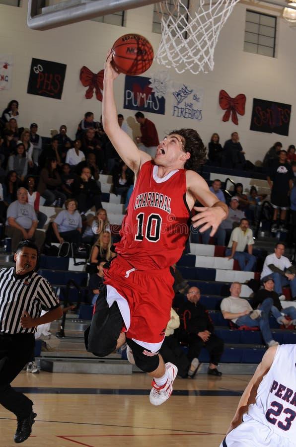 Het Basketbalspel van middelbare schooljongens royalty-vrije stock foto's