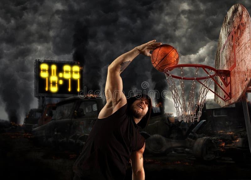 Het basketbalspeler van de mensenstraat stock foto's