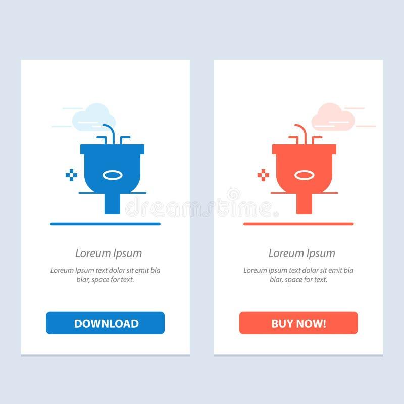 Het bassin, Badkamers, het Schoonmaken, Douche, wast Blauwe en Rode Download en koopt nu de Kaartmalplaatje van Webwidget stock illustratie
