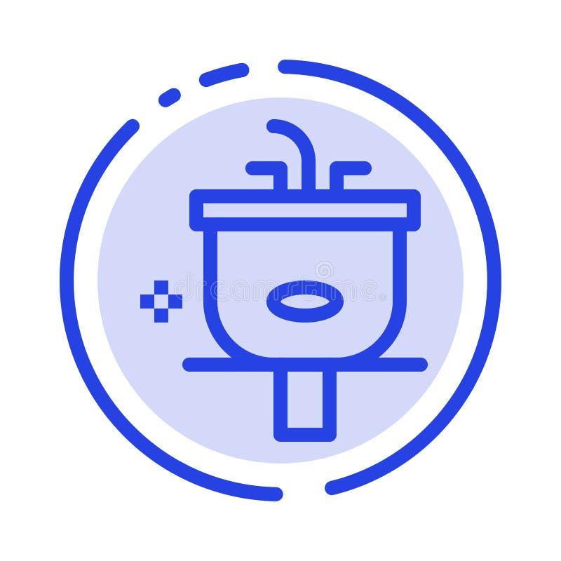 Het bassin, Badkamers, het Schoonmaken, Douche, wast het Blauwe Pictogram van de Gestippelde Lijnlijn vector illustratie
