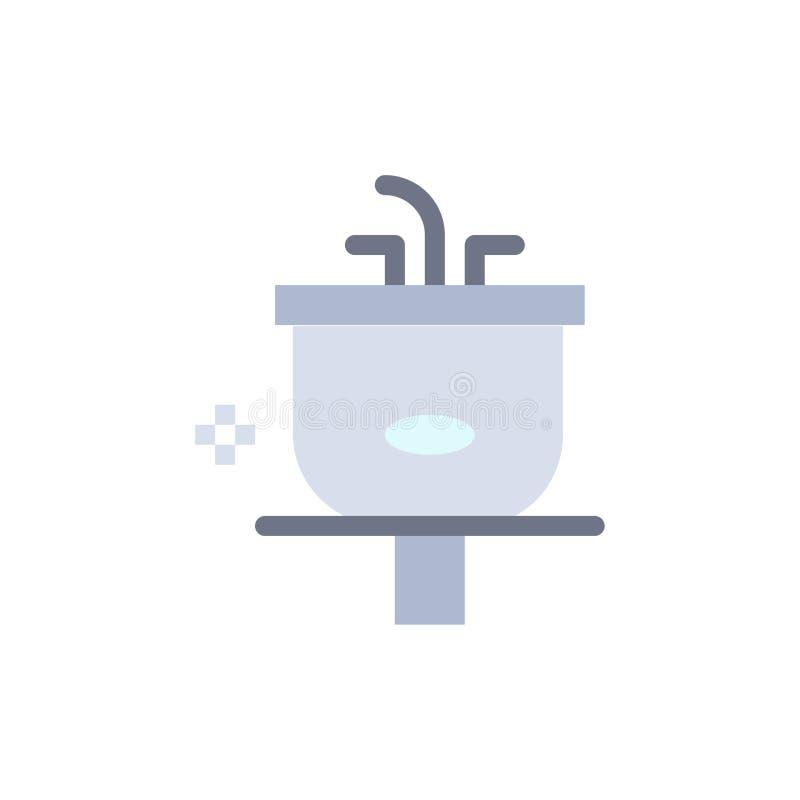 Het bassin, Badkamers, het Schoonmaken, Douche, wast Vlak Kleurenpictogram Het vectormalplaatje van de pictogrambanner vector illustratie