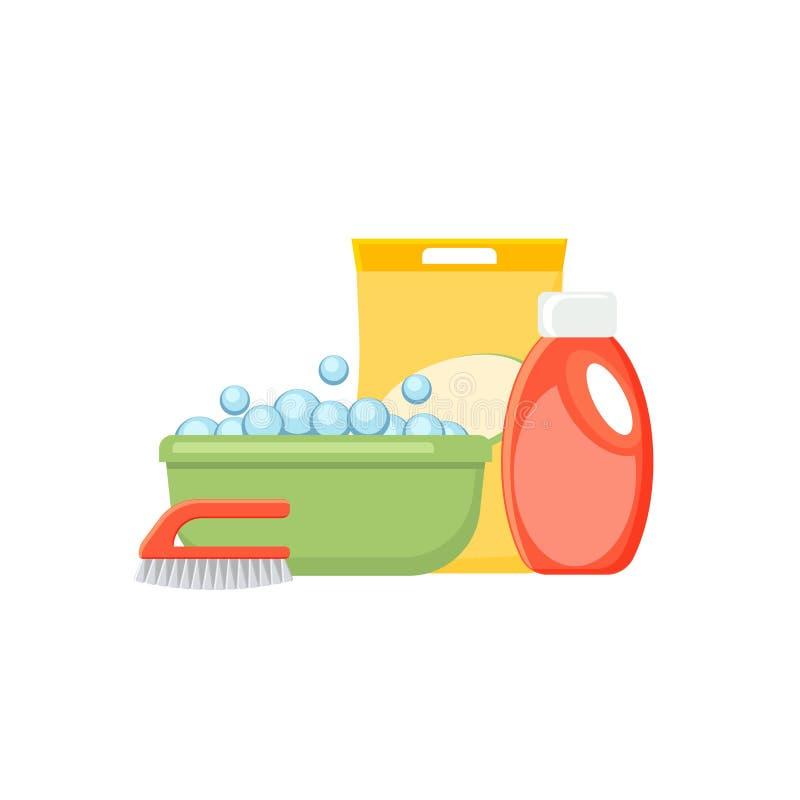 Het bassin, de bellen, de detergentia en de borstel vectorillustratie isoleren vector illustratie
