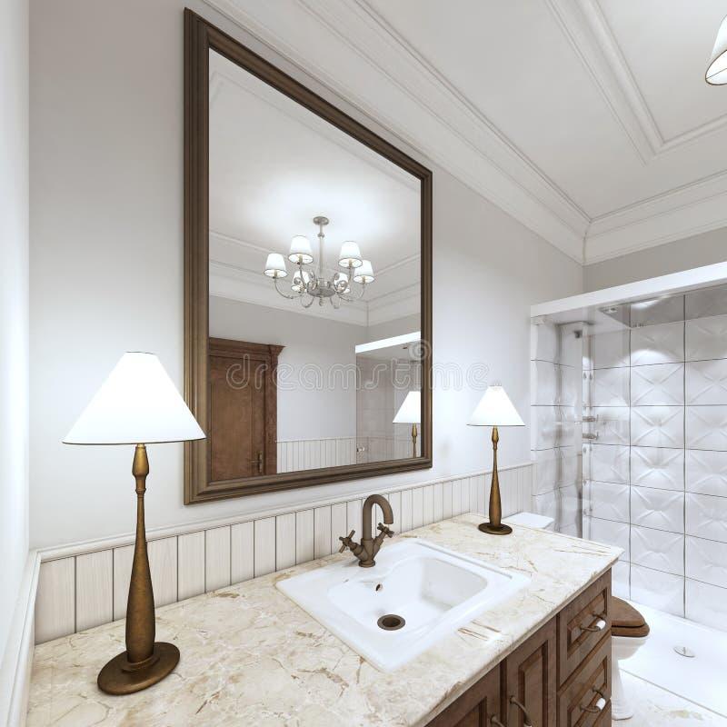 Het bassin van de het badwas van de meubilairgootsteen met marmeren countertop royalty-vrije illustratie
