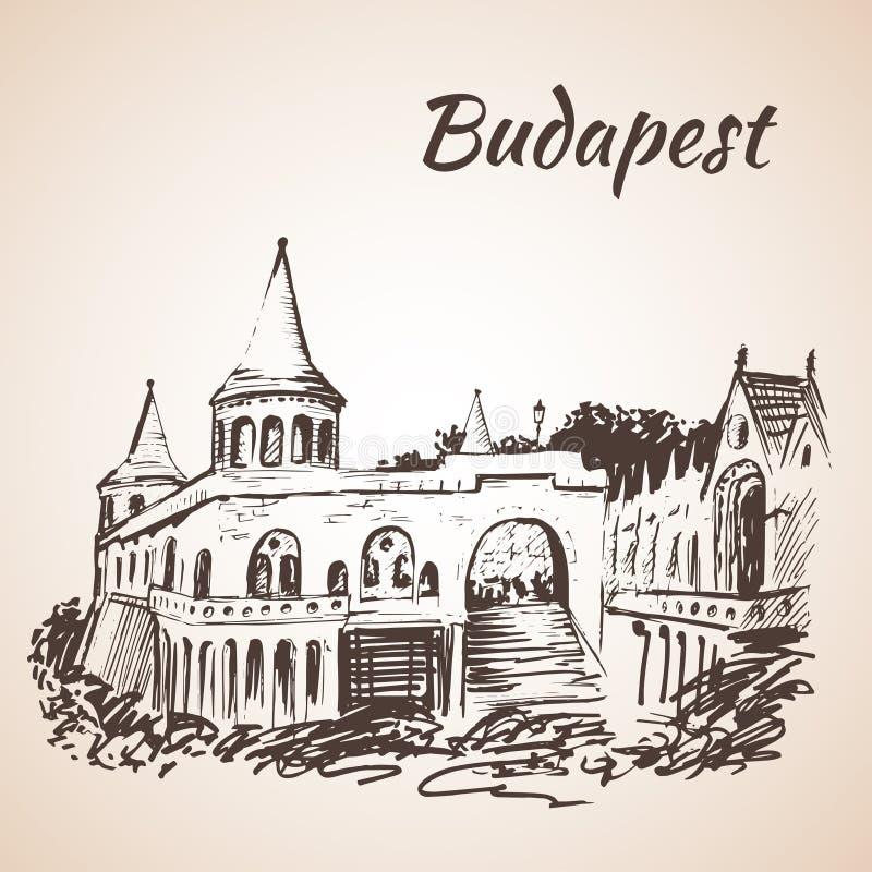 Het Bastion van de visser - Boedapest, Hongarije stock illustratie