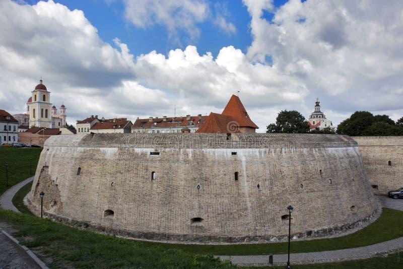 Het Bastion van Stadsmuur, renaissance-Stijl vestingwerk in Vilnius, Litouwen royalty-vrije stock foto's