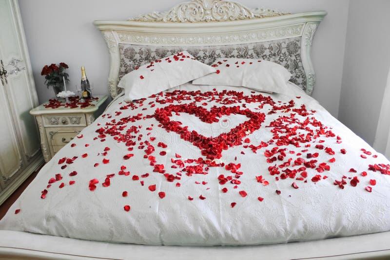 Het bed met echte rood nam bloemblaadjes toe stock foto