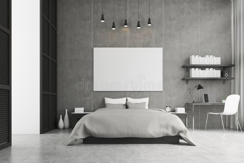 Het bed van de koningsgrootte en een studiehoek in een slaapkamer royalty-vrije illustratie
