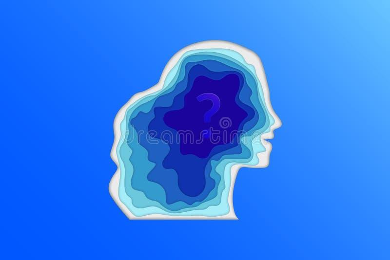 Het bedachtzame silhouet van het vrouwen papercut profiel met vraagteken blauwe kleur vector illustratie