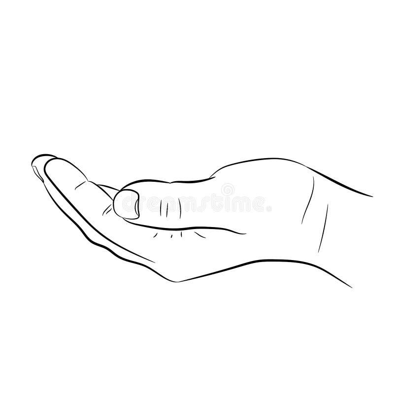 Het bedelen van hand op wit van vectorillustraties stock illustratie