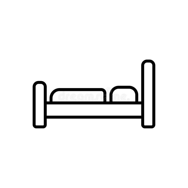 Het bedpictogram Hotelsymbool Vlakke vectorillustratie royalty-vrije illustratie