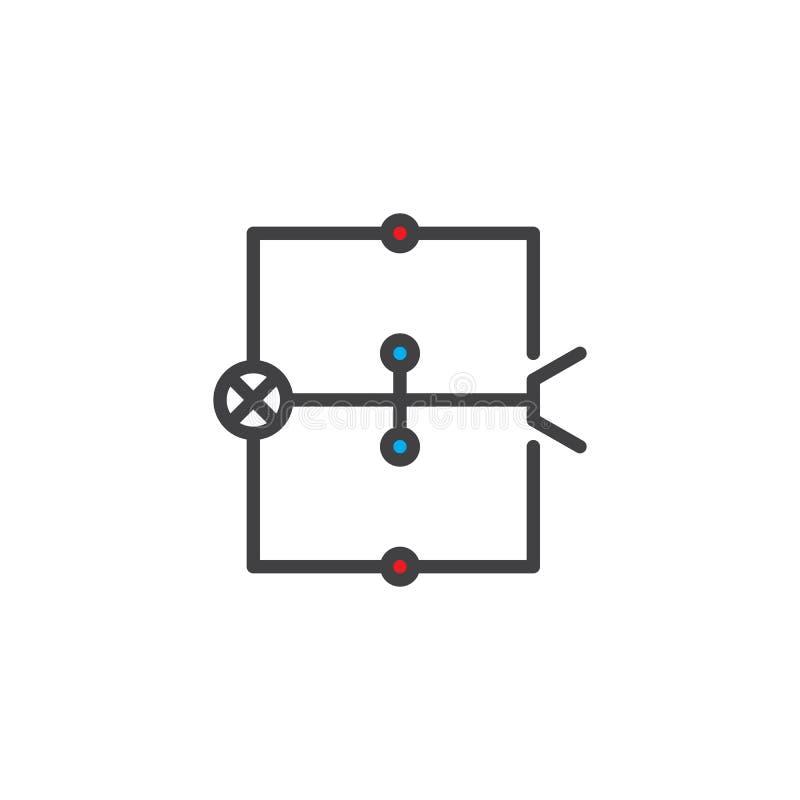 Het bedradingsdiagram vulde overzichtspictogram royalty-vrije illustratie