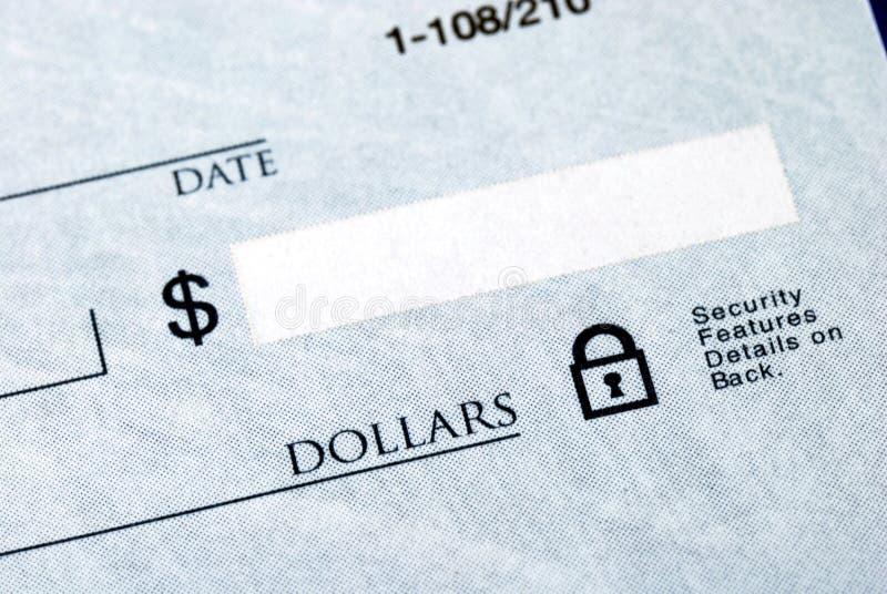 Het bedrag van de dollar op de controle stock foto's