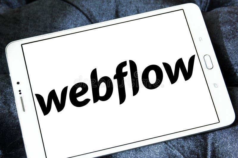 Het bedrijfembleem van de Webflowsoftware stock fotografie