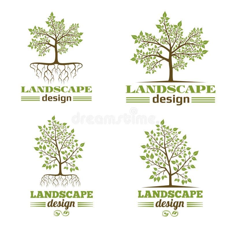 Het bedrijfemblemen van het landschapsontwerp Boom met wortelsembleem stock illustratie