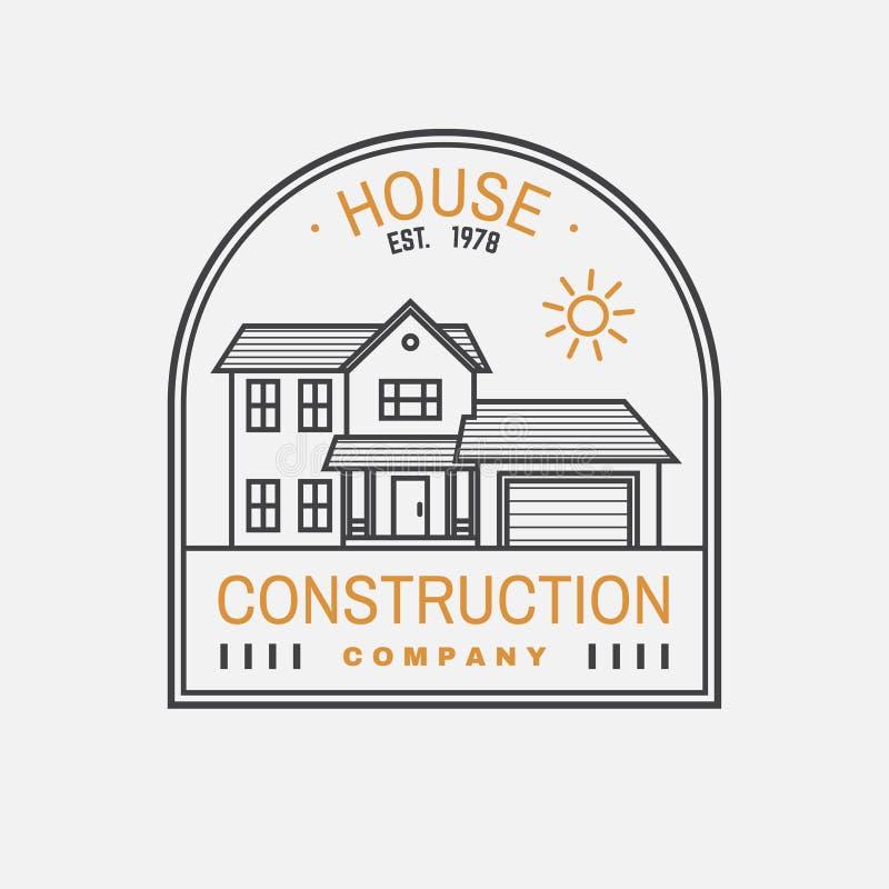 Het bedrijfidentiteit van de huisbouw met Amerikaans huis in de voorsteden Vector illustratie Dun lijnkenteken, teken voor echt vector illustratie
