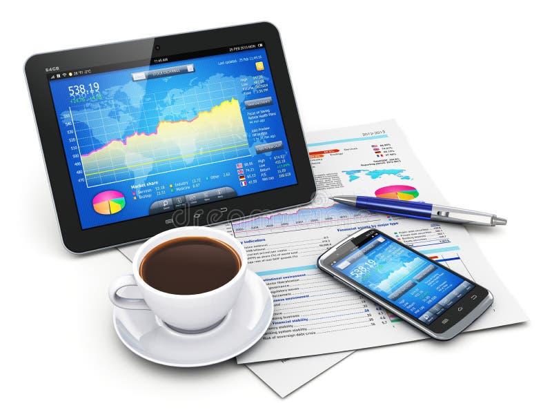 Het bedrijfs en financiënconcept van de mobiliteit, vector illustratie