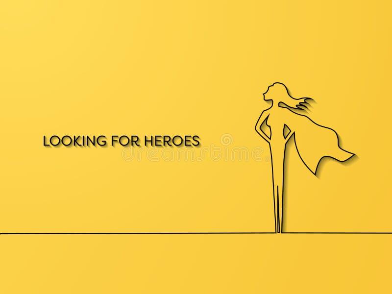 Het bedrijfs huren en rekruterings vectorconcept met de nadruk op vrouw als superhero Symbool van talent, carrièrekans vector illustratie