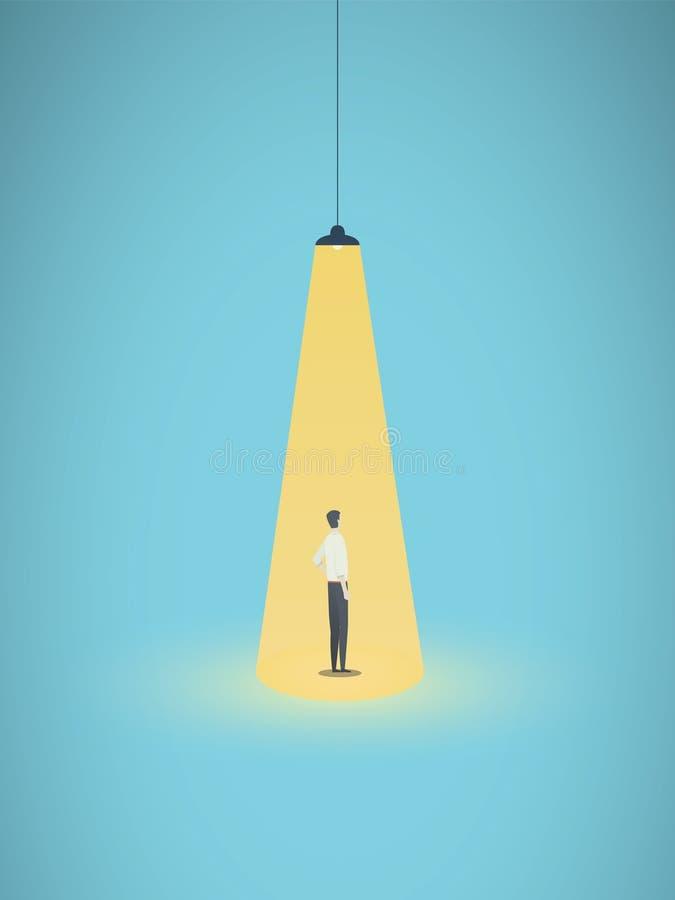 Het bedrijfs huren en rekruterings vectorconcept met zakenman status in heldere gele schijnwerper Symbool van nieuw stock illustratie