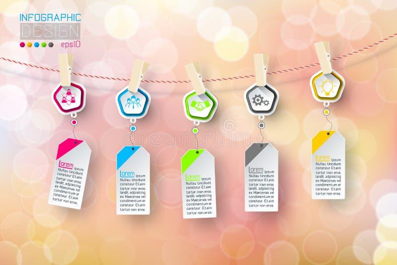 Het bedrijfs infographic 5 stappen hangen clotheslined met bellenachtergrond royalty-vrije illustratie