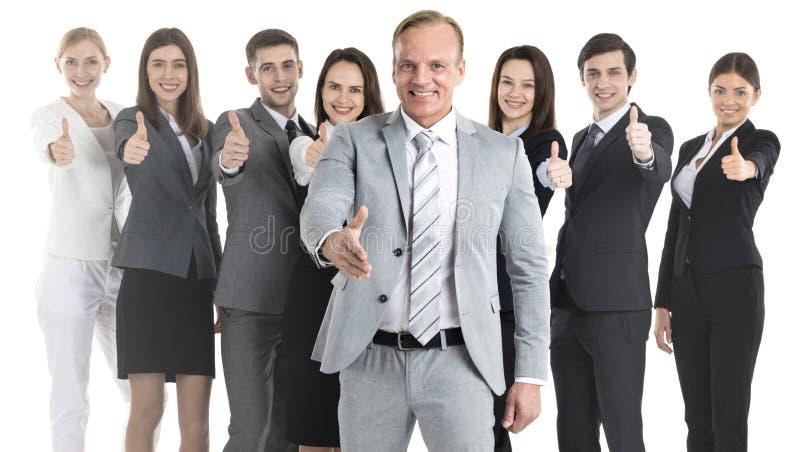 Het bedrijfs mensen tonen beduimelt omhoog stock afbeelding