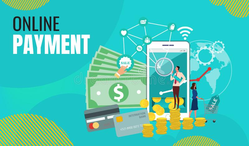 Het bedrijfs online betaling Online Winkelen Landingspagina Vlakke Mensenkarakters met het Winkelen royalty-vrije illustratie
