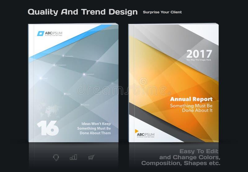 Het bedrijfs vectormalplaatje, brochureontwerp, vat jaarverslag samen, behandelt moderne lay-out stock illustratie