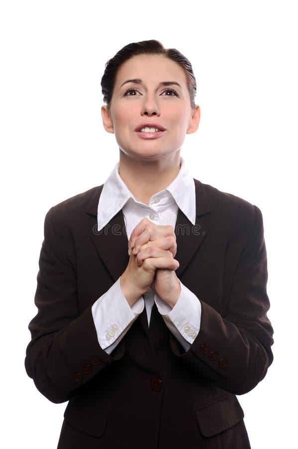 Het bedrijfs vrouw bidden royalty-vrije stock foto